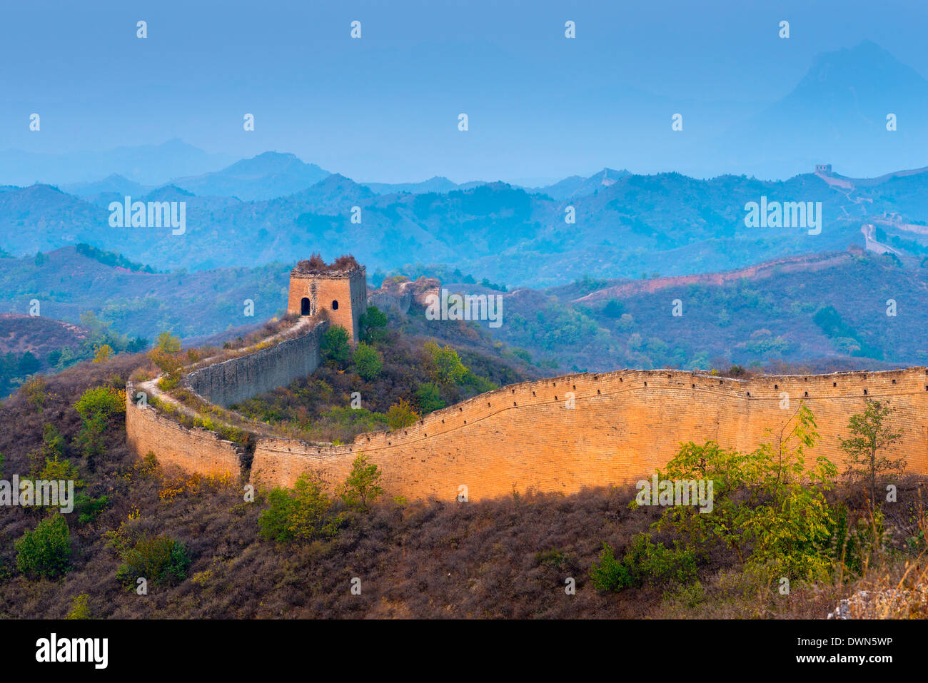 À la section Gubeikou Jinshanling de la Grande Muraille de Chine, Site de l'UNESCO, Miyun County, la municipalité de Beijing, Chine Photo Stock