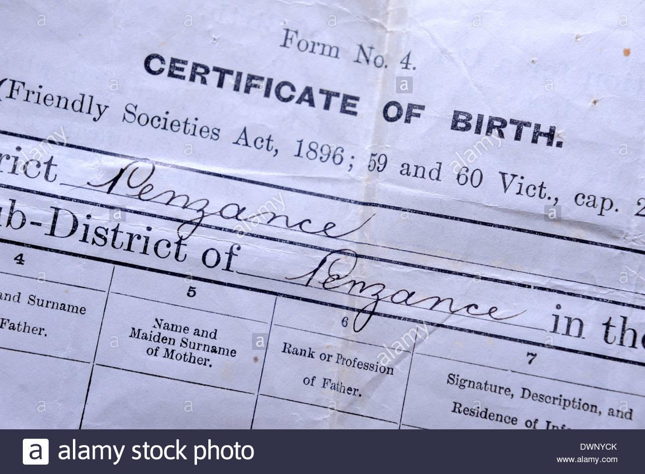 Certificat de naissance délivré dans Penzance autour de 1900. Photo Stock