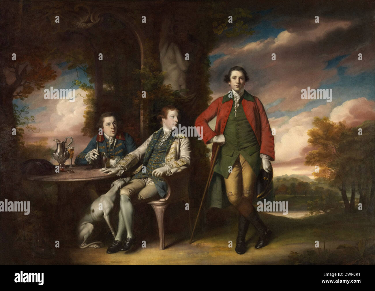 Joshua Reynolds - l'honorable Henry Fane avec Inigo Jones et Charles Blair Photo Stock