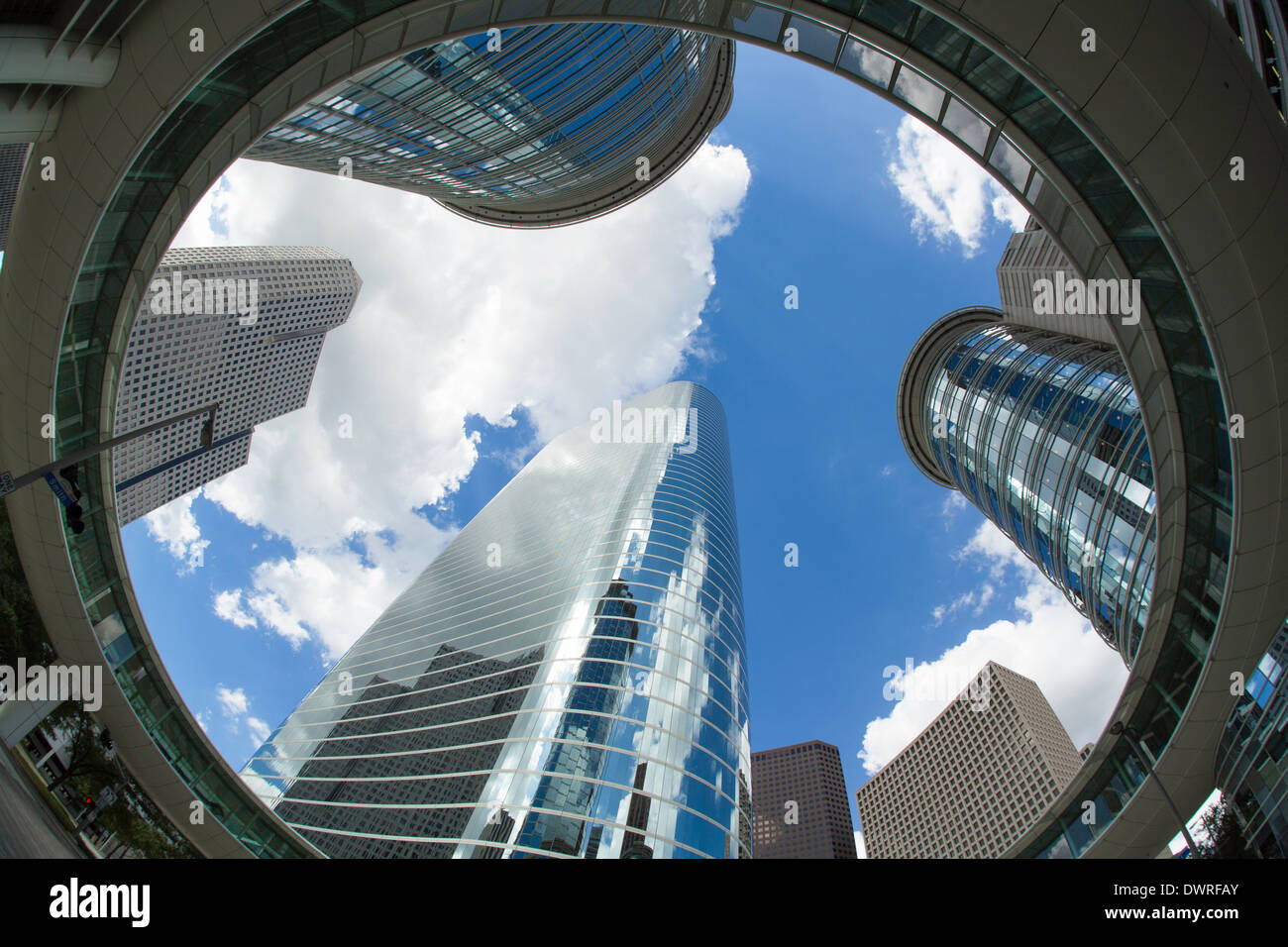 Houston, Texas, USA, le centre-ville de l'architecture moderne Photo Stock