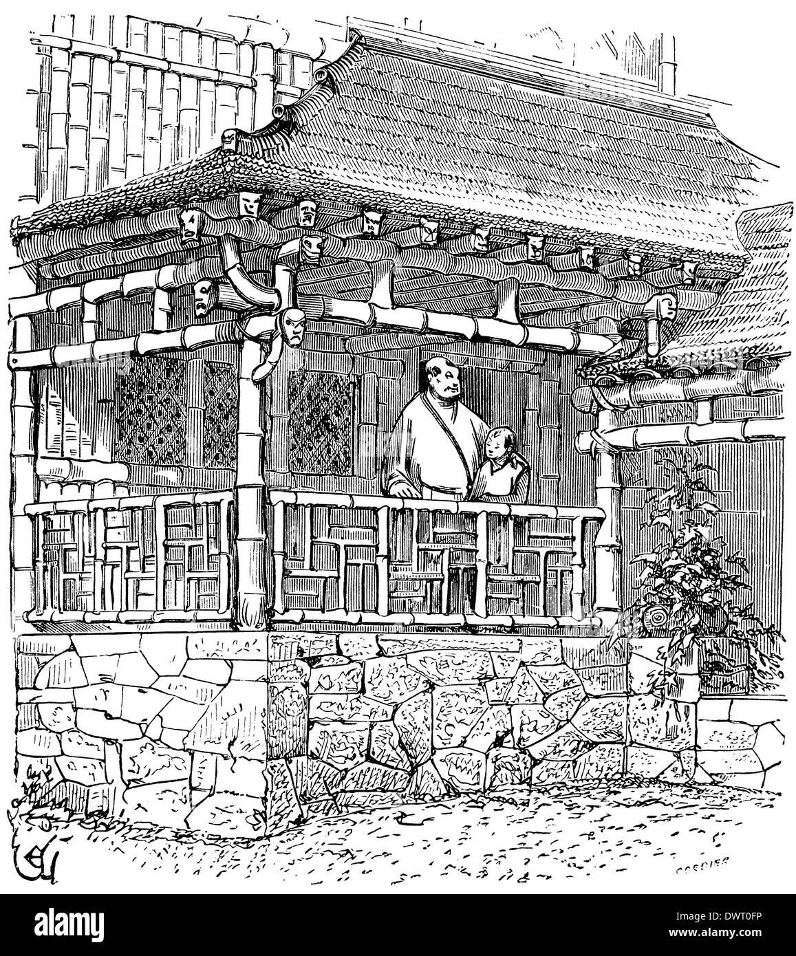 Maison de bambou chinois après le dessin de viollet le duc