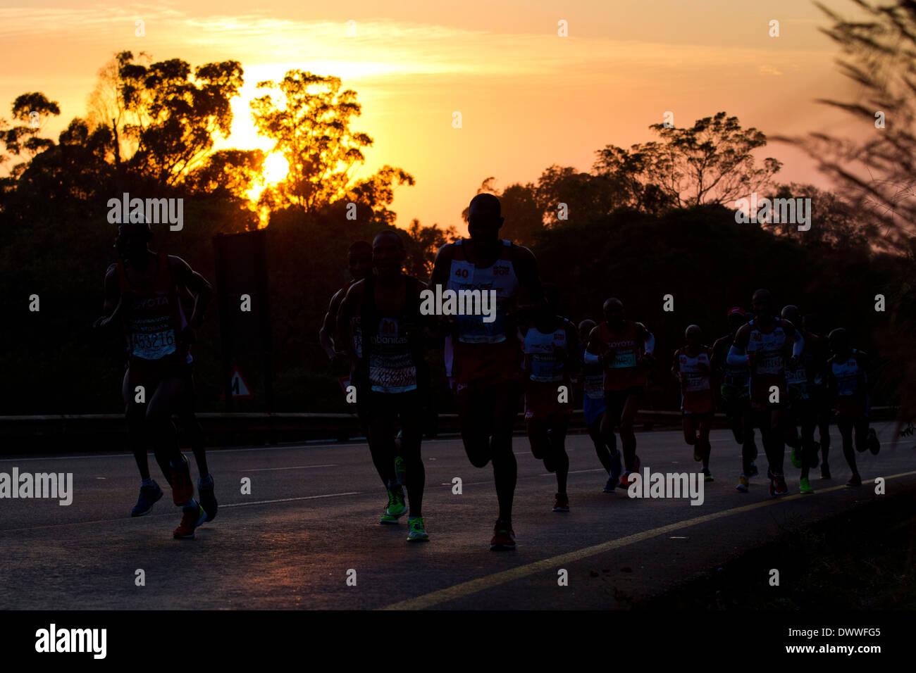 Glissières de siège des champs Hill durant les camarades Marathon, 2 juin 2013. Les camarades est exécuté entre les villes de Durban et de Photo Stock