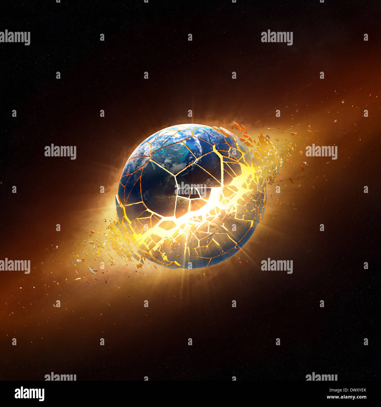 Planète terre exploser dans l'espace (éléments de cette image 3D fourni par la NASA - des textures de http://visibleearth.nasa.gov/) Photo Stock