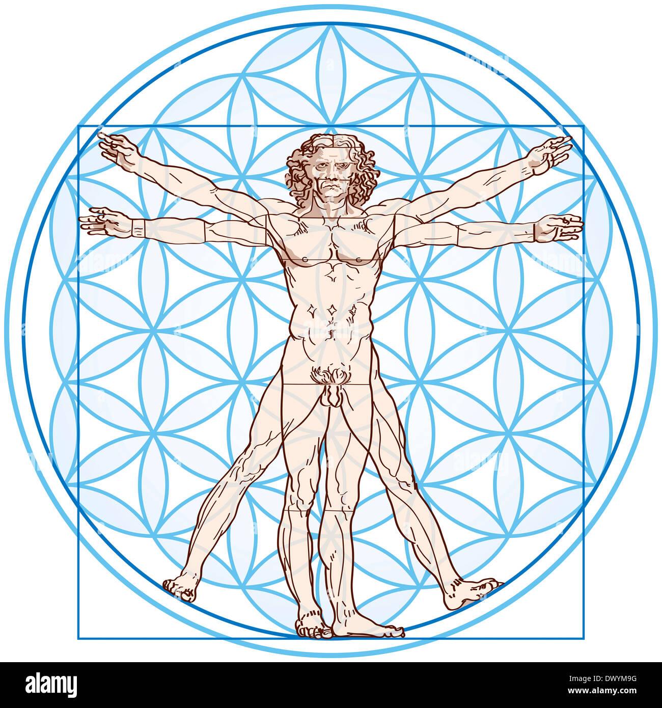 Homme de Vitruve s'inscrit dans la Fleur de vie. Banque D'Images