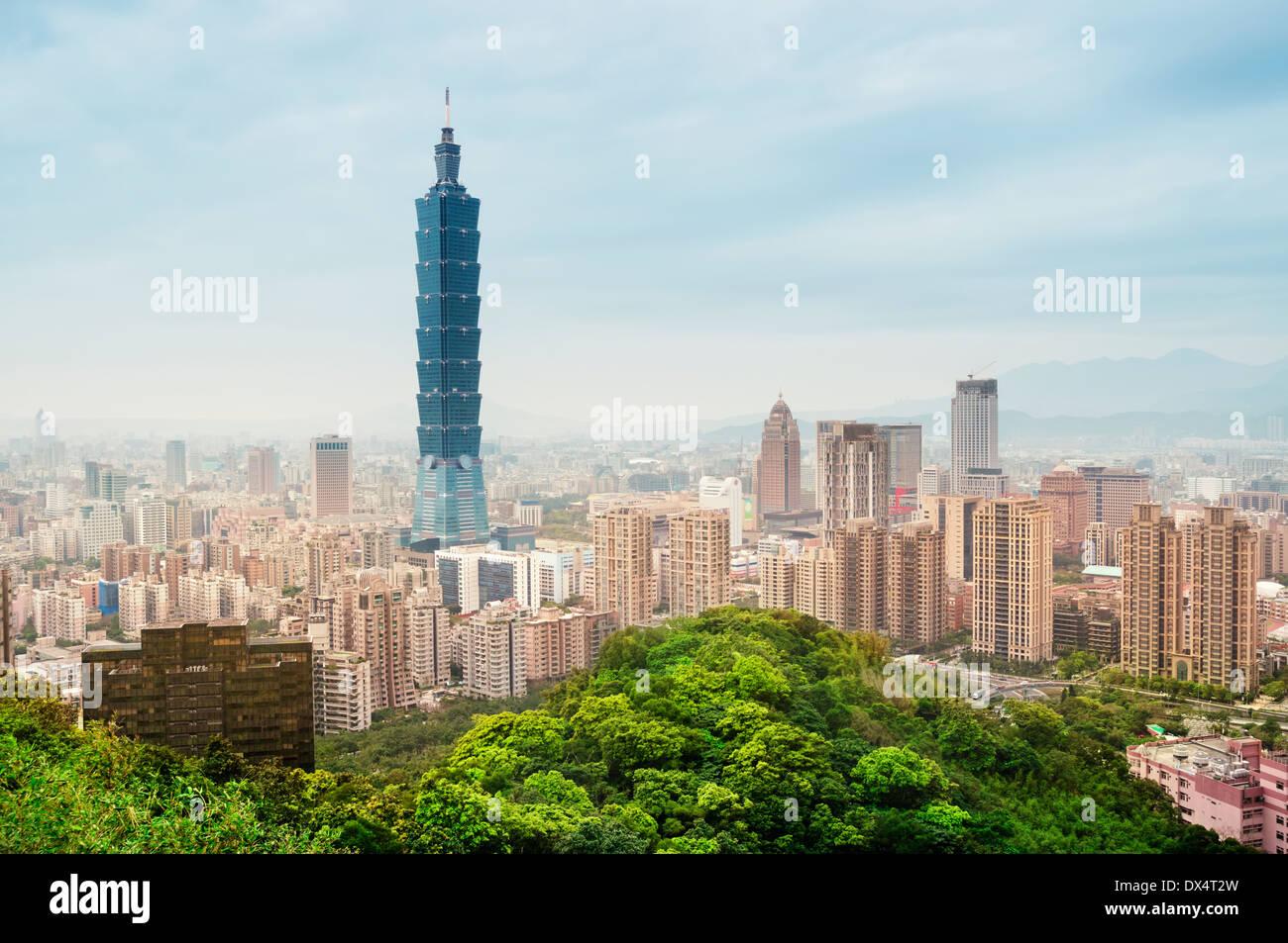 Voir le quartier d'affaires de Taipei. Photo Stock