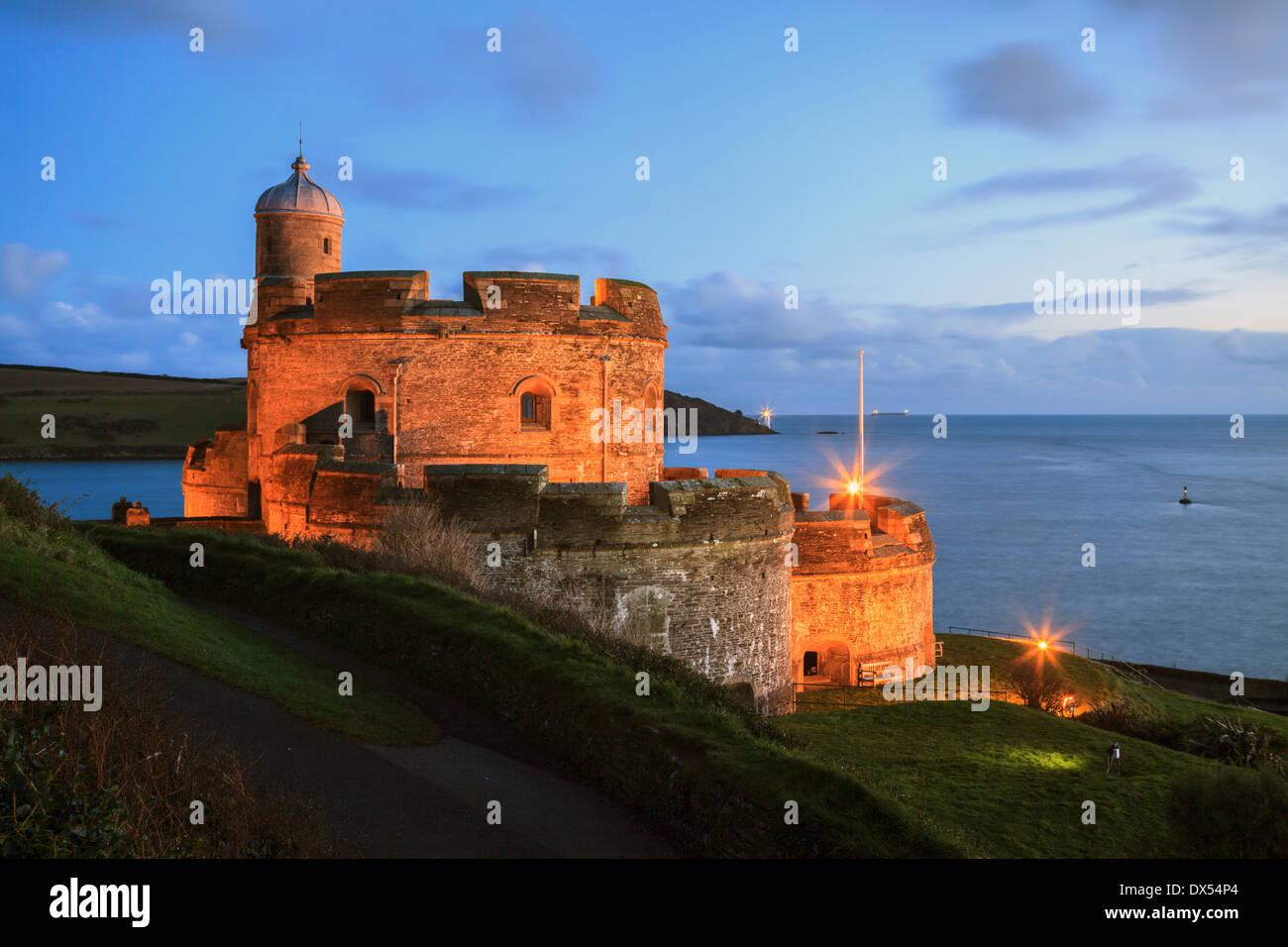 St Mawes Château capturé pendant le crépuscule Photo Stock