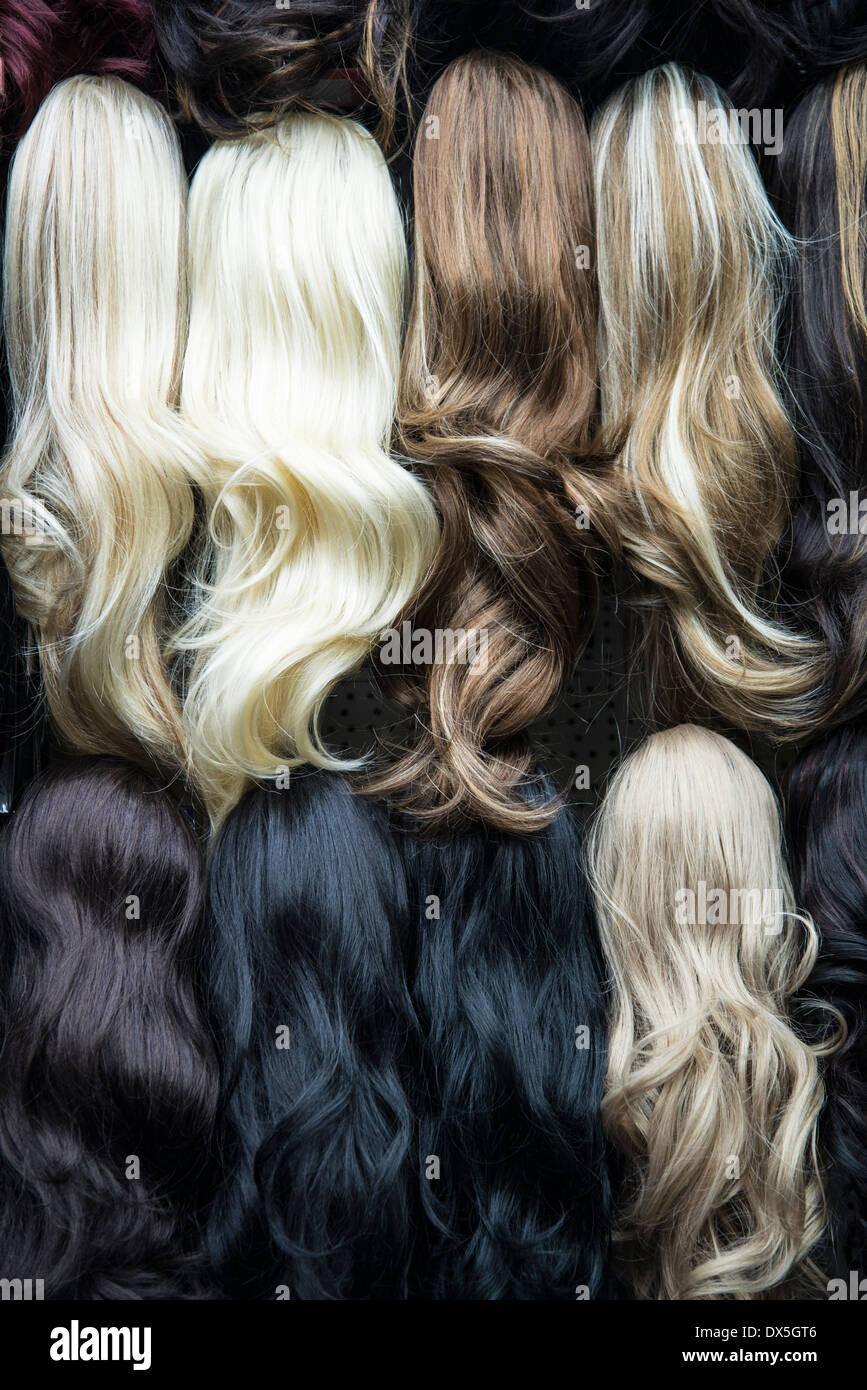 Perruques et extensions de cheveux, Brixton, London, UK Photo Stock