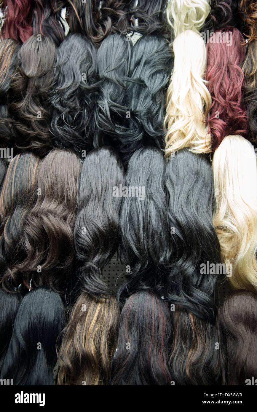 Perruques et extensions de cheveux, Brixton, London, UK Photo Stock