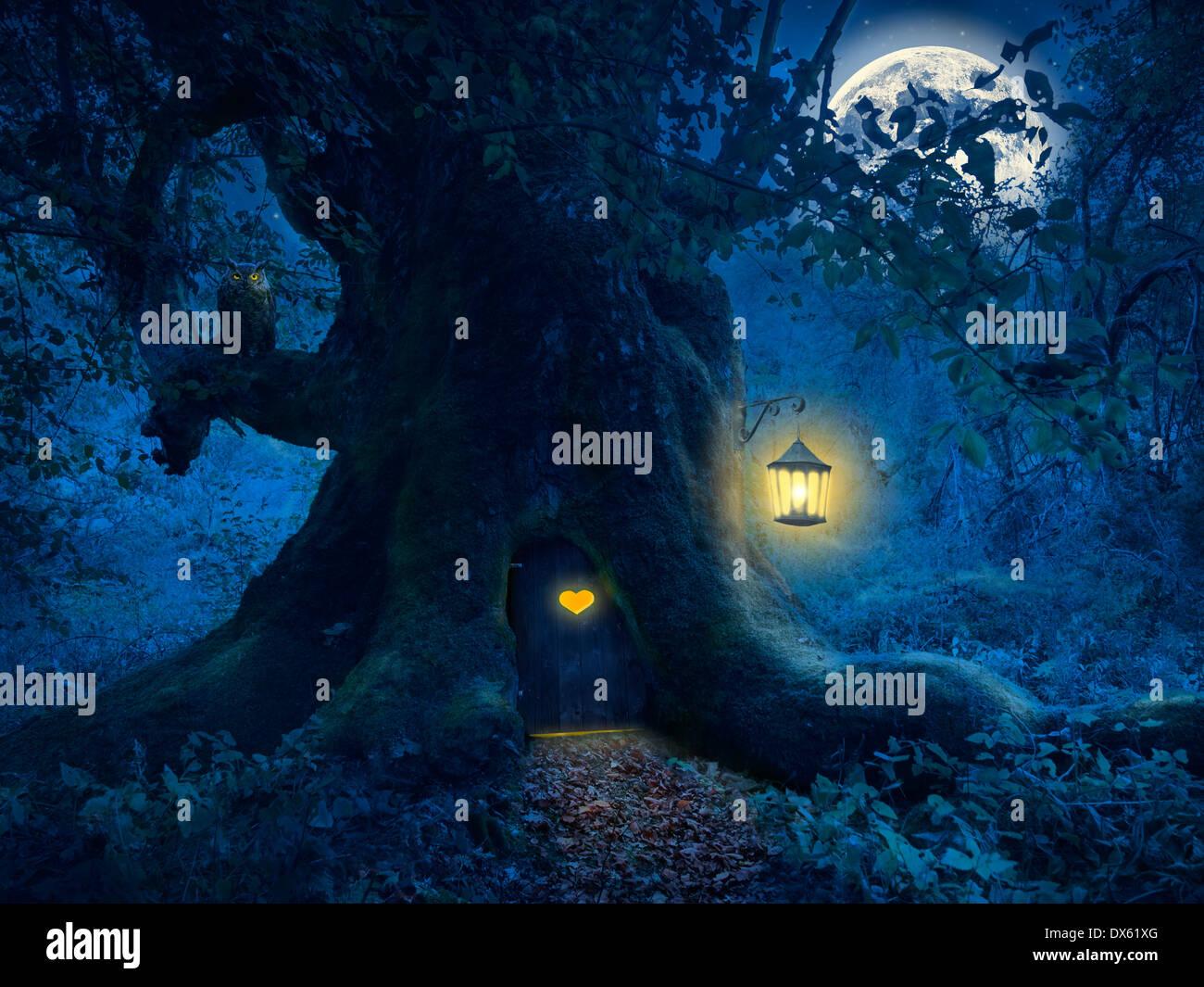 Nuit Magique avec un peu d'accueil dans le tronc d'un vieil arbre dans la forêt enchantée. Photo Stock