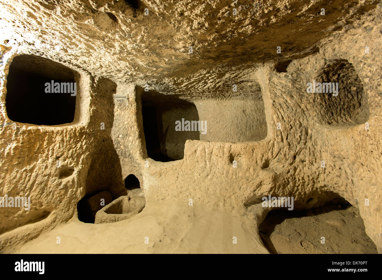 Saraphane Winery, la ville souterraine de Kaymakli, Cappadoce, Turquie Photo Stock