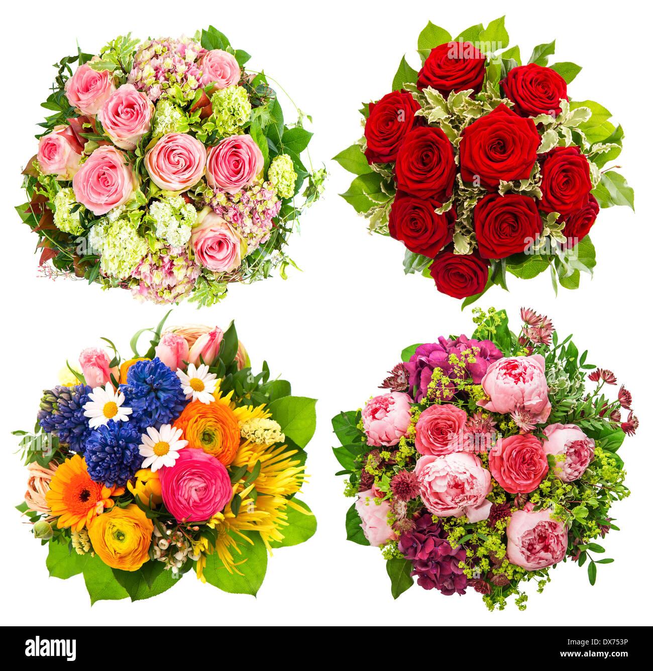 Quatre Fleurs Bouquet Pour Anniversaire Mariage Fête Des