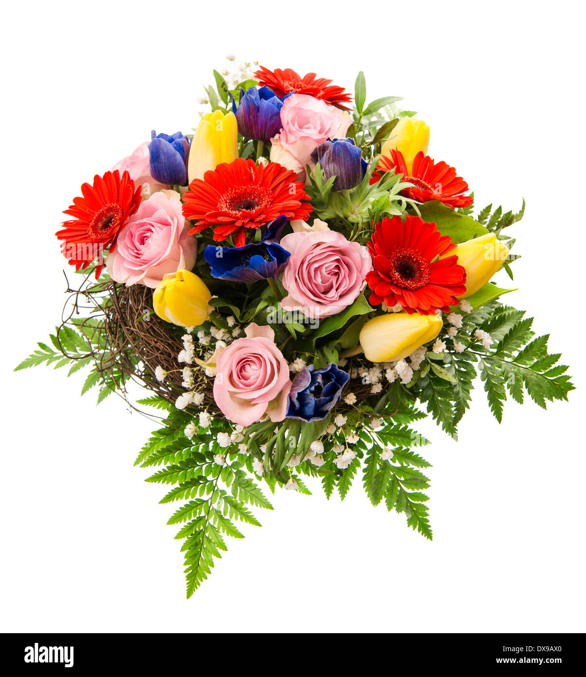 Gros Plan Du Bouquet De Fleurs Printanieres Colorees Isole Sur Fond