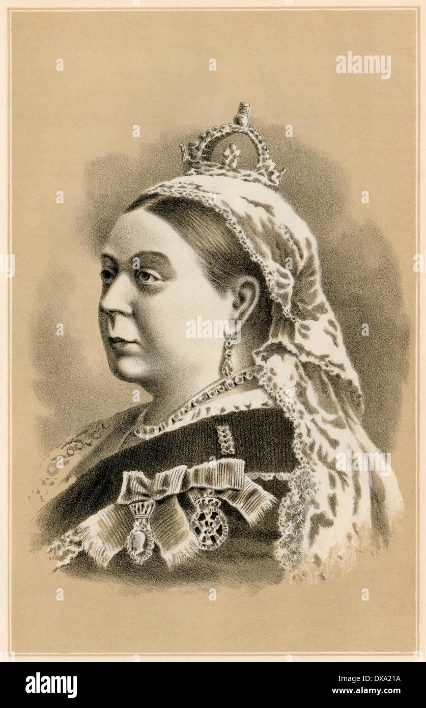 Sa Majesté la Reine Victoria, en 1880. Mezzotinte Photo Stock