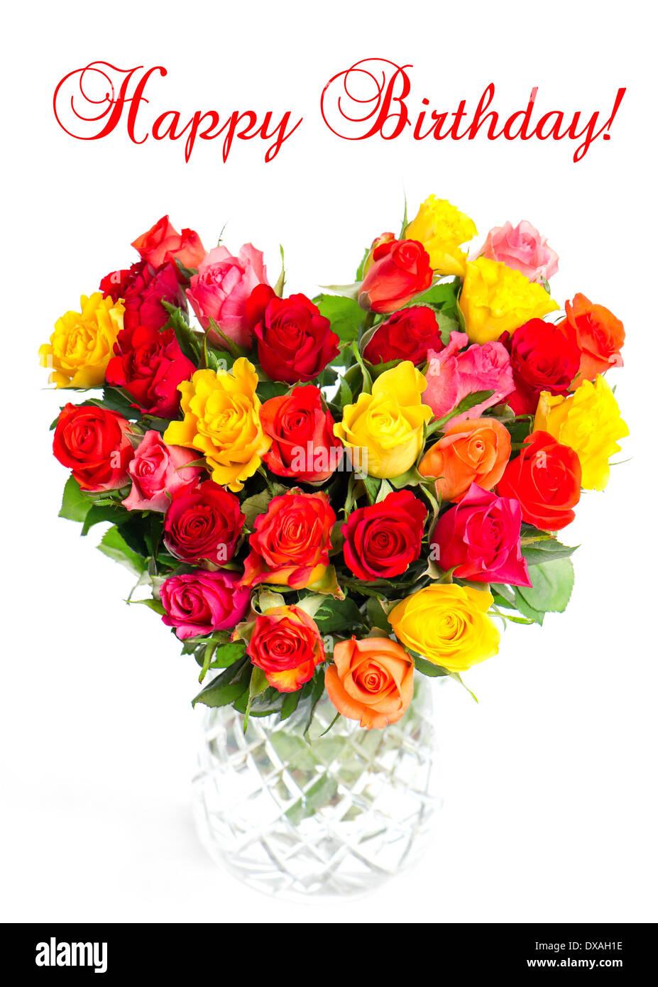 Joyeux Anniversaire Concept De Carte Bouquet De Roses