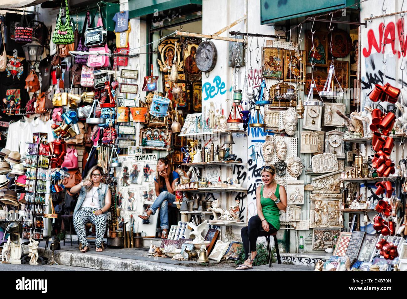 Magasin de souvenirs dans les rues d'Athènes, Grèce Photo Stock