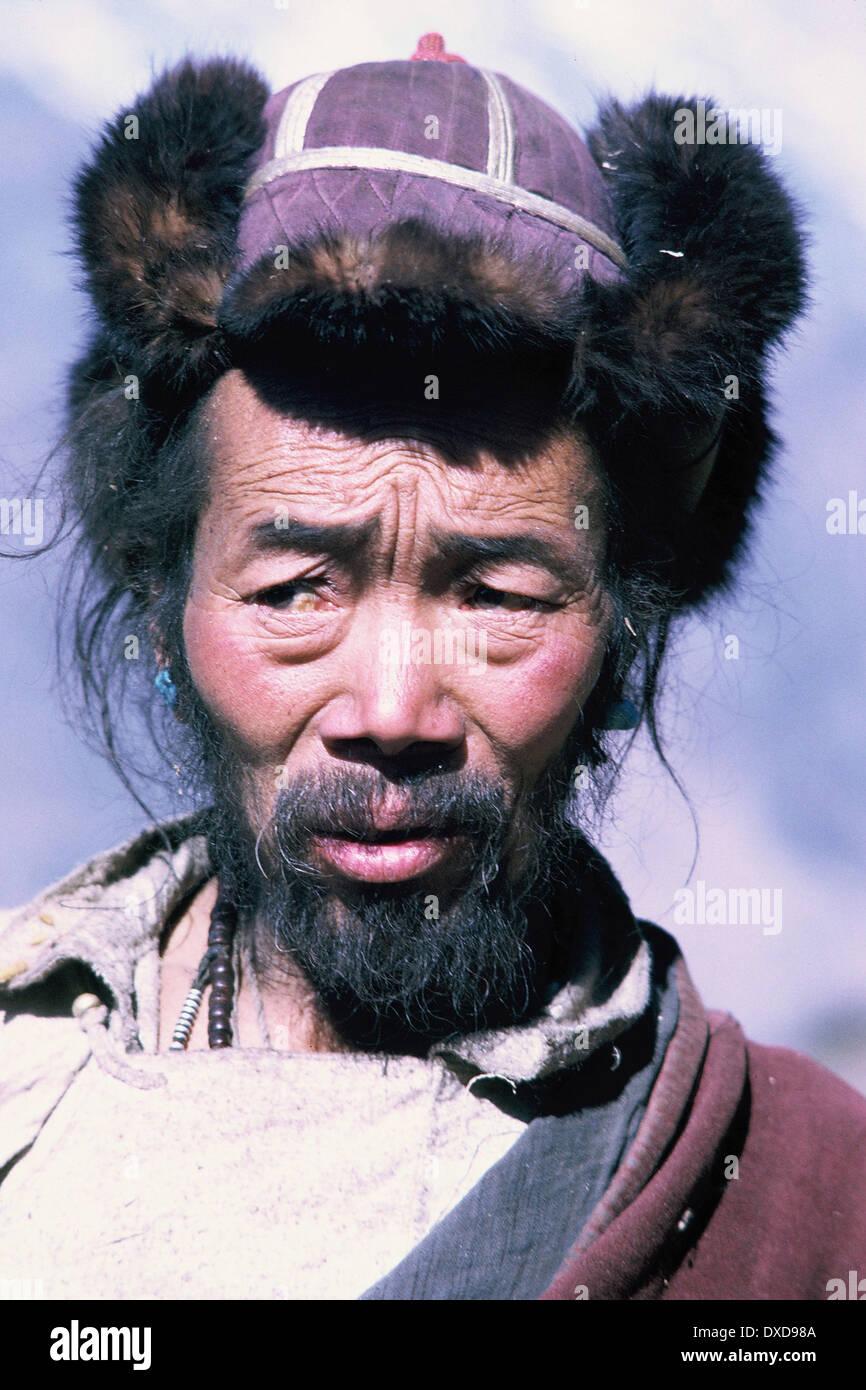 L'homme du Tibet, Himalaya, Népal, 1969 Photo Stock