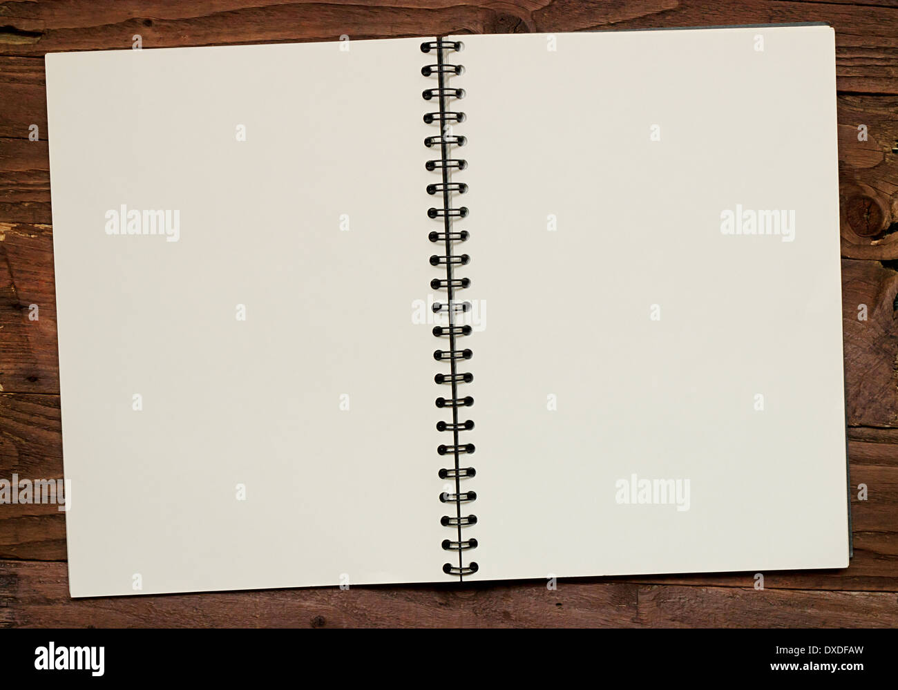 Reliés à l'aide d'une propagation d'album vide Ouvrir pour afficher des pages vierges pour l'insertion de vos propres éléments de conception. Photo Stock