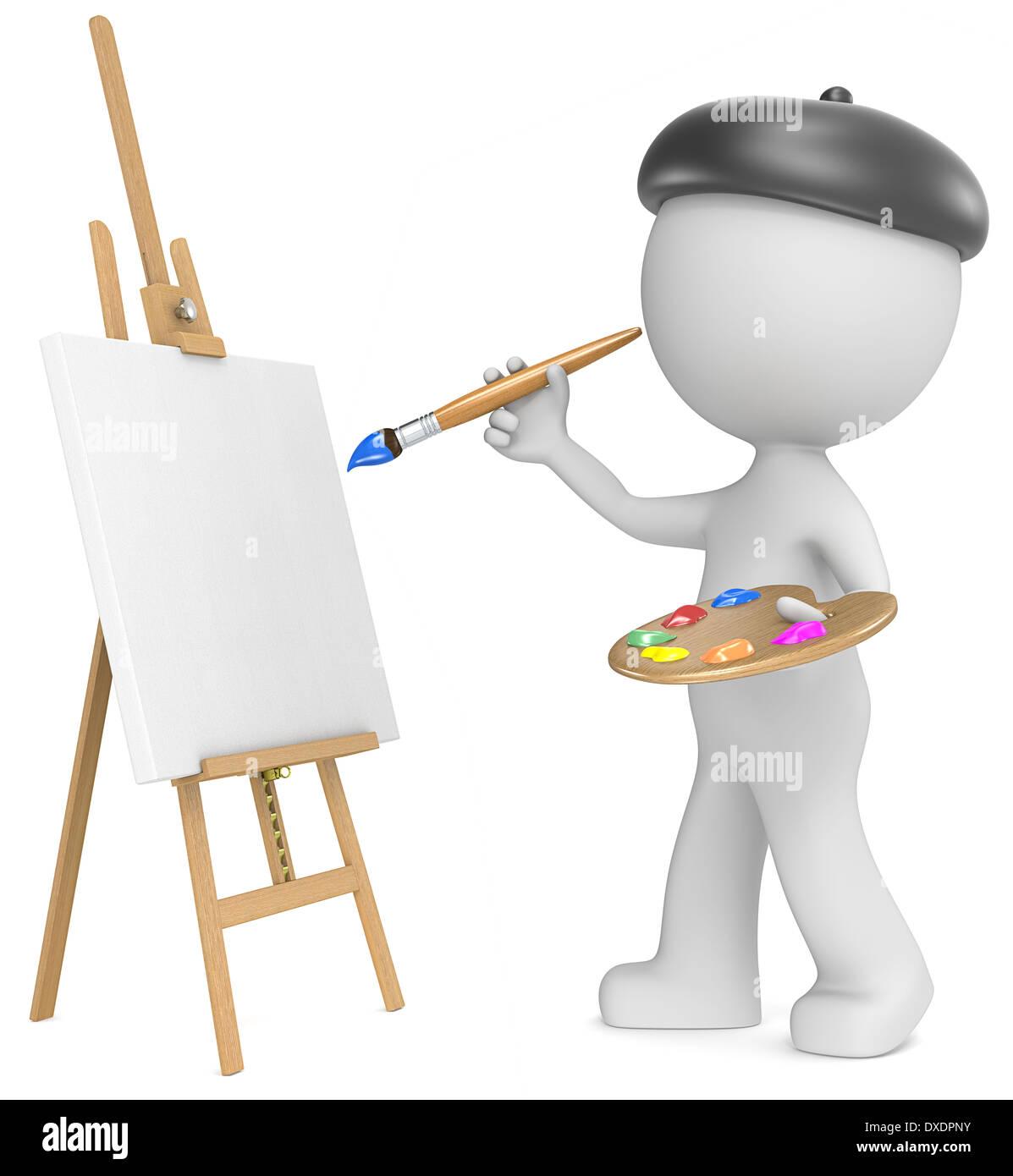 Tenue D Artiste Peintre dude l'artiste la peinture. la tenue du pinceau et palette