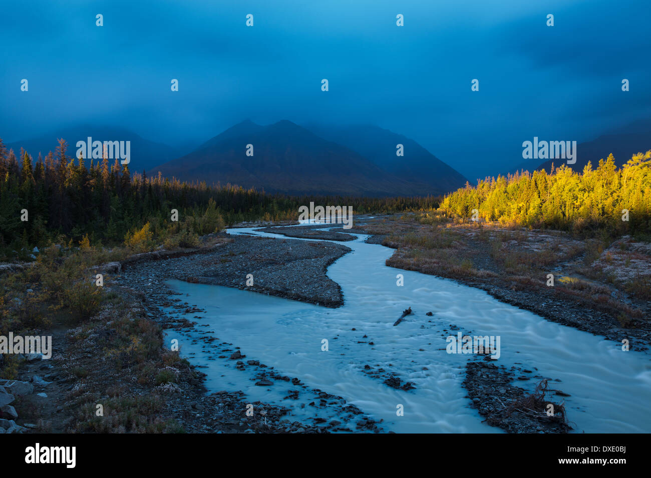 Ruisseau Quill & la chaîne Auriol, St Elias, Territoire du Yukon, Canada Photo Stock