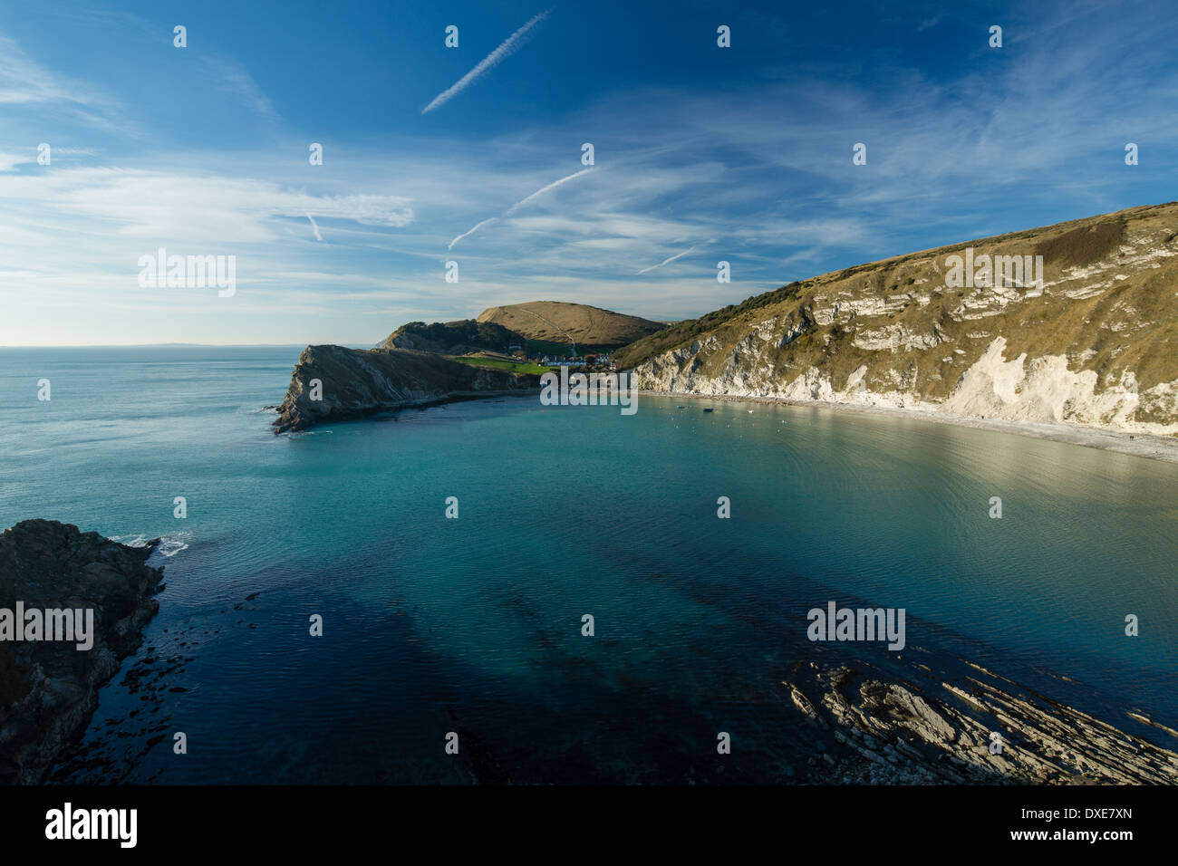 Crique de Lulworth Cove, sur la côte jurassique, Dorset, Angleterre Photo Stock