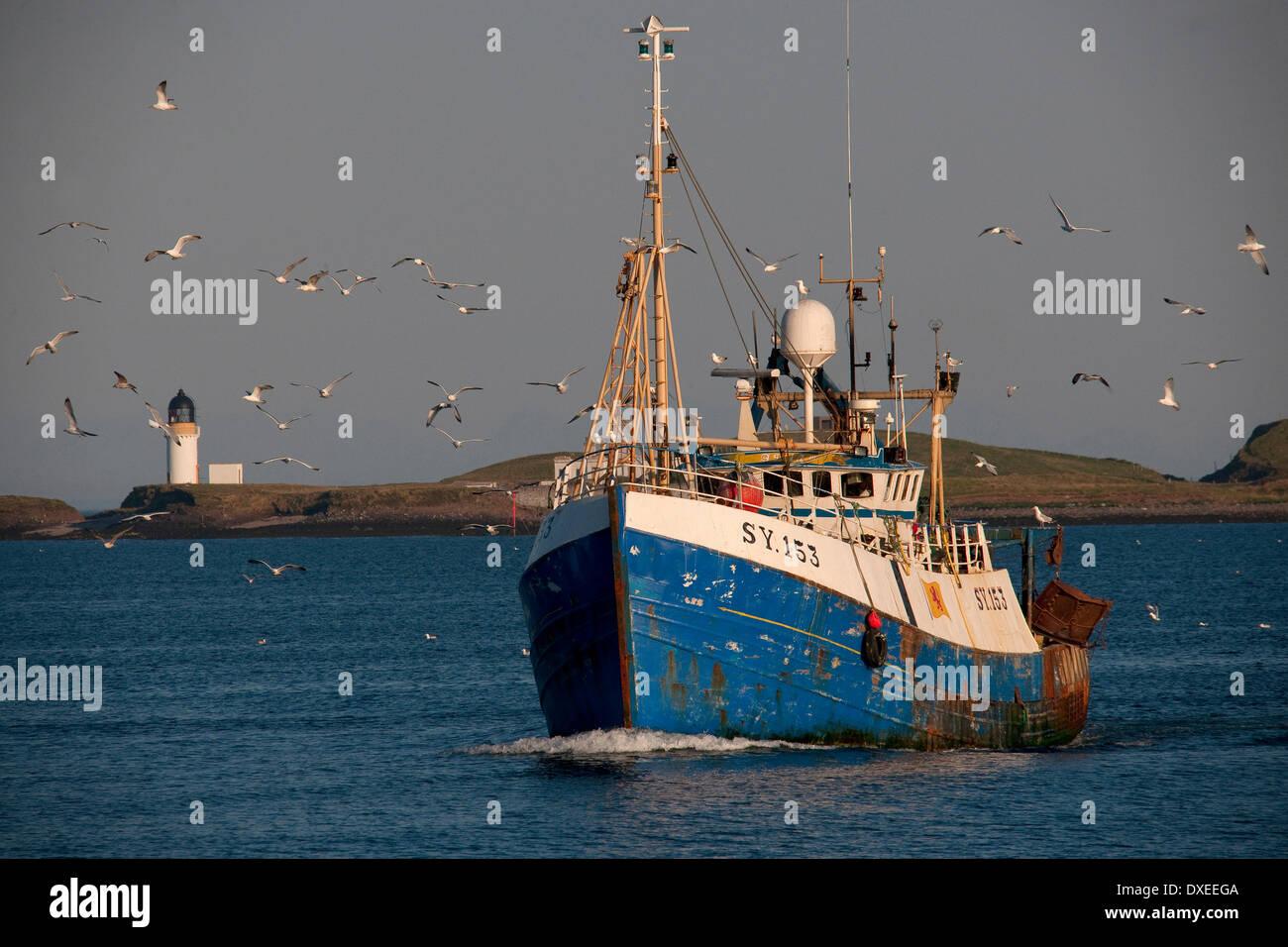 Bateau de pêche écossais chefs retour à Stornoway harbour,Ile-de-lewis.Hébrides. Photo Stock