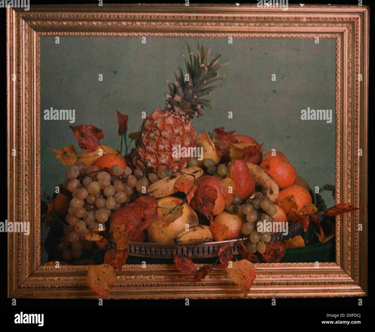 Étude de la vie toujours, bol de fruits derrière gold frame Photo Stock