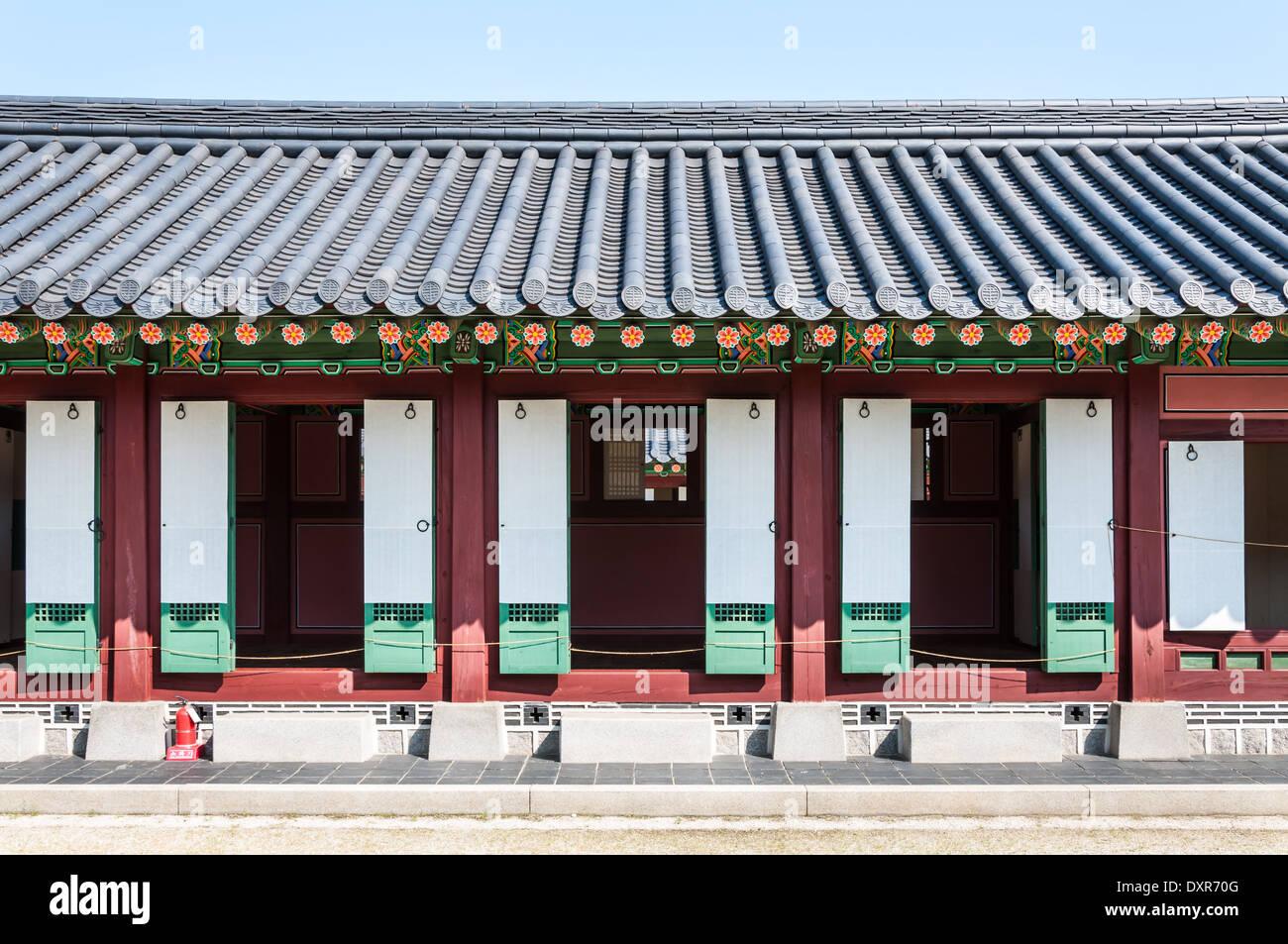 L'architecture traditionnelle coréenne à Gyeongbokgung Palace à Séoul, Corée du Sud. Photo Stock