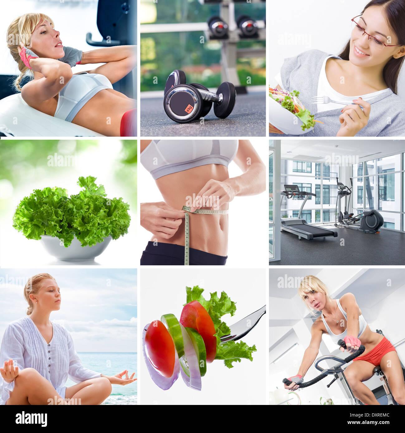 De vie sain collage thème composé de différentes images Photo Stock