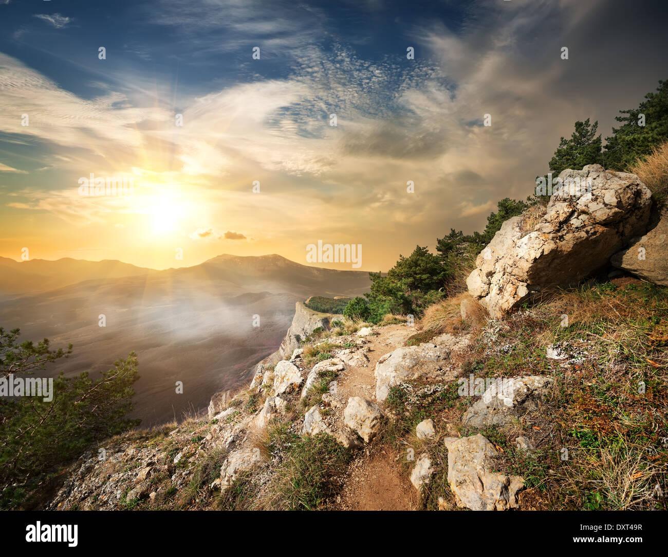 Voir à la vallée des fantômes dans la lumière du soleil Photo Stock