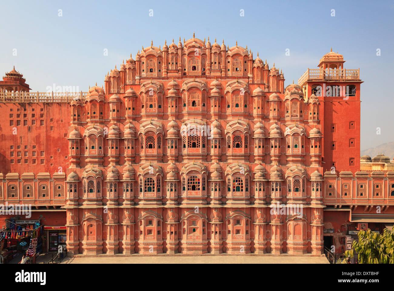 L'Inde, Rajasthan, Jaipur, Hawa Mahal (palais des vents) Photo Stock