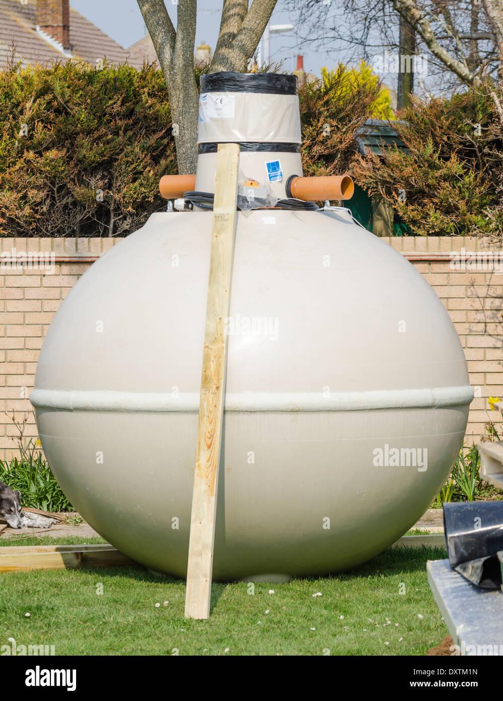 L'eau de pluie Kingspan Aquabank harvester, pour recueillir l'eau de pluie sous terre. Photo Stock