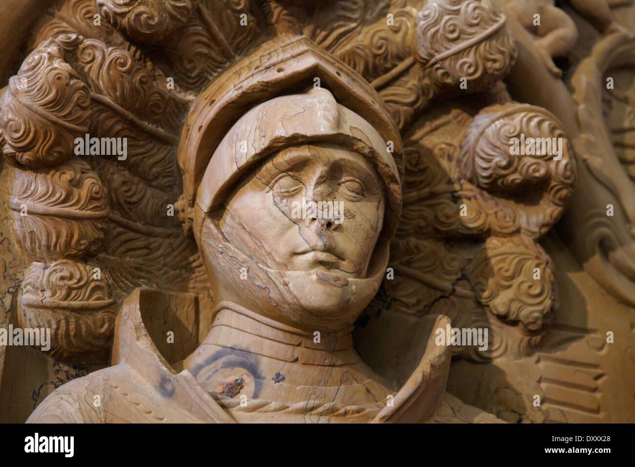 Allemagne, Bade-Wurtemberg, Location Appartement Monastère, église bénédictine de Saint Pierre et Paul, statue, tombe, détail Photo Stock