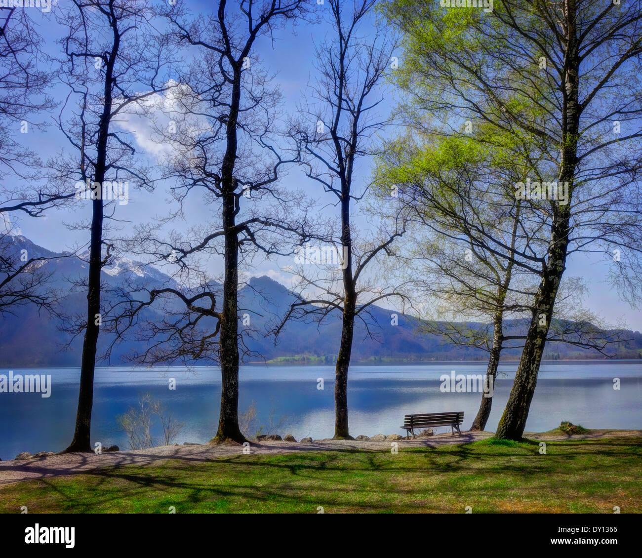 DE - La Bavière: lac Kochelsee (vue sur le lac en dessous du célèbre musée Franz Marc à Kochel) Photo Stock