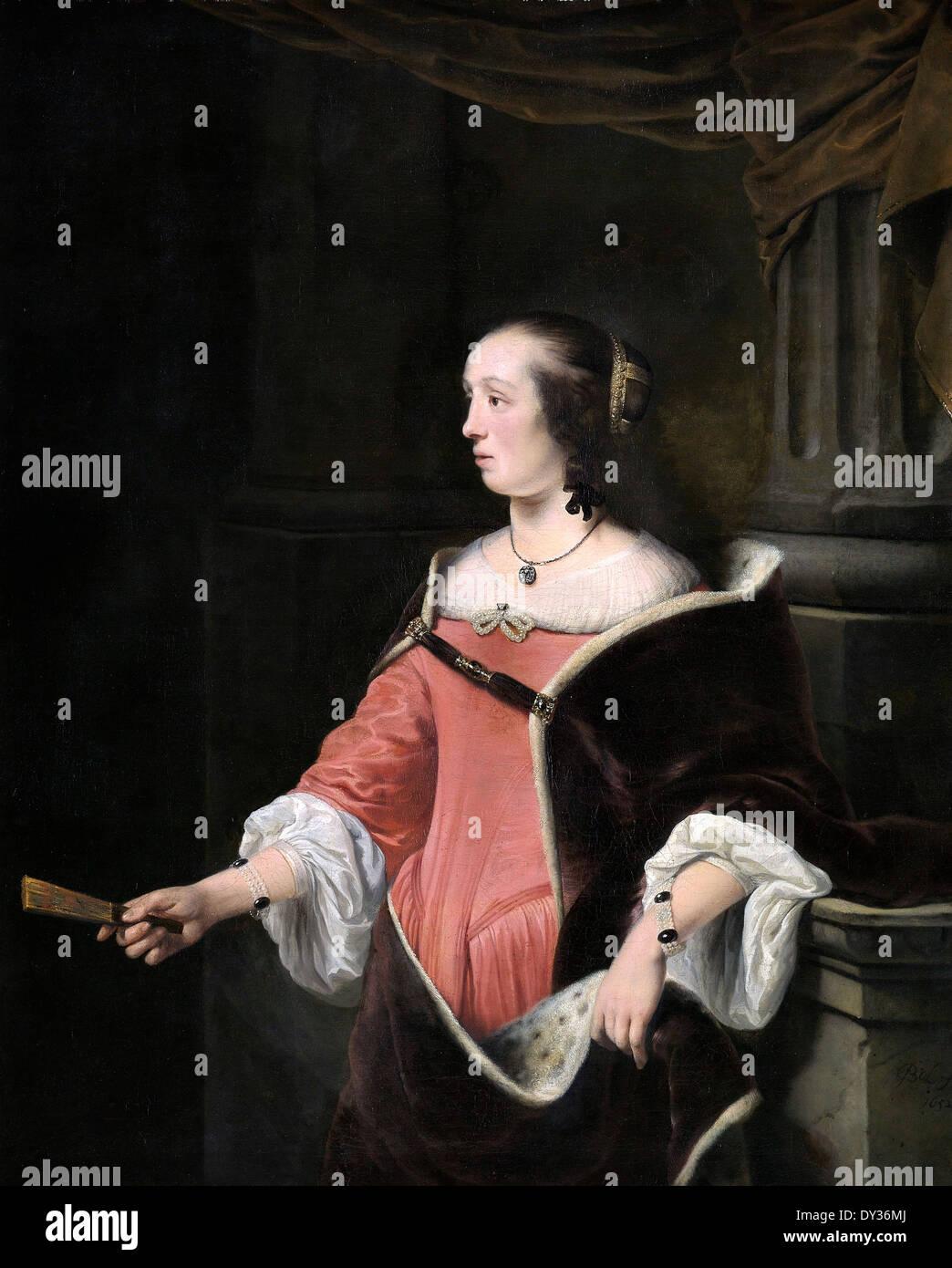 Ferdinand Bol, Portrait d'une femme 1652 Huile sur toile. Le Musée Boijmans Van Beuningen, Rotterdam, Pays-Bas. Photo Stock