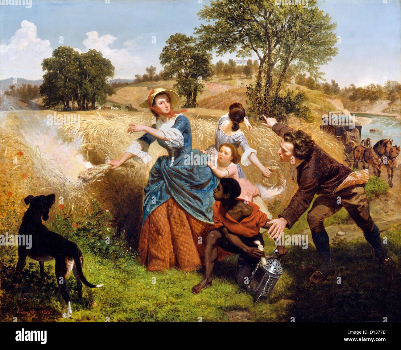 Emanuel Gottlieb Leutze, Mme Schuyler brûler son champs de blé sur l'approche de la British 1852 Huile sur toile. Photo Stock