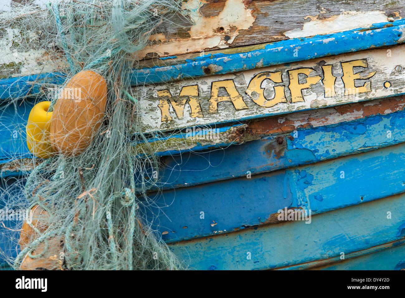 Nom bateau 'Magpie', Holy Island, Lindisfarne, Angleterre Photo Stock