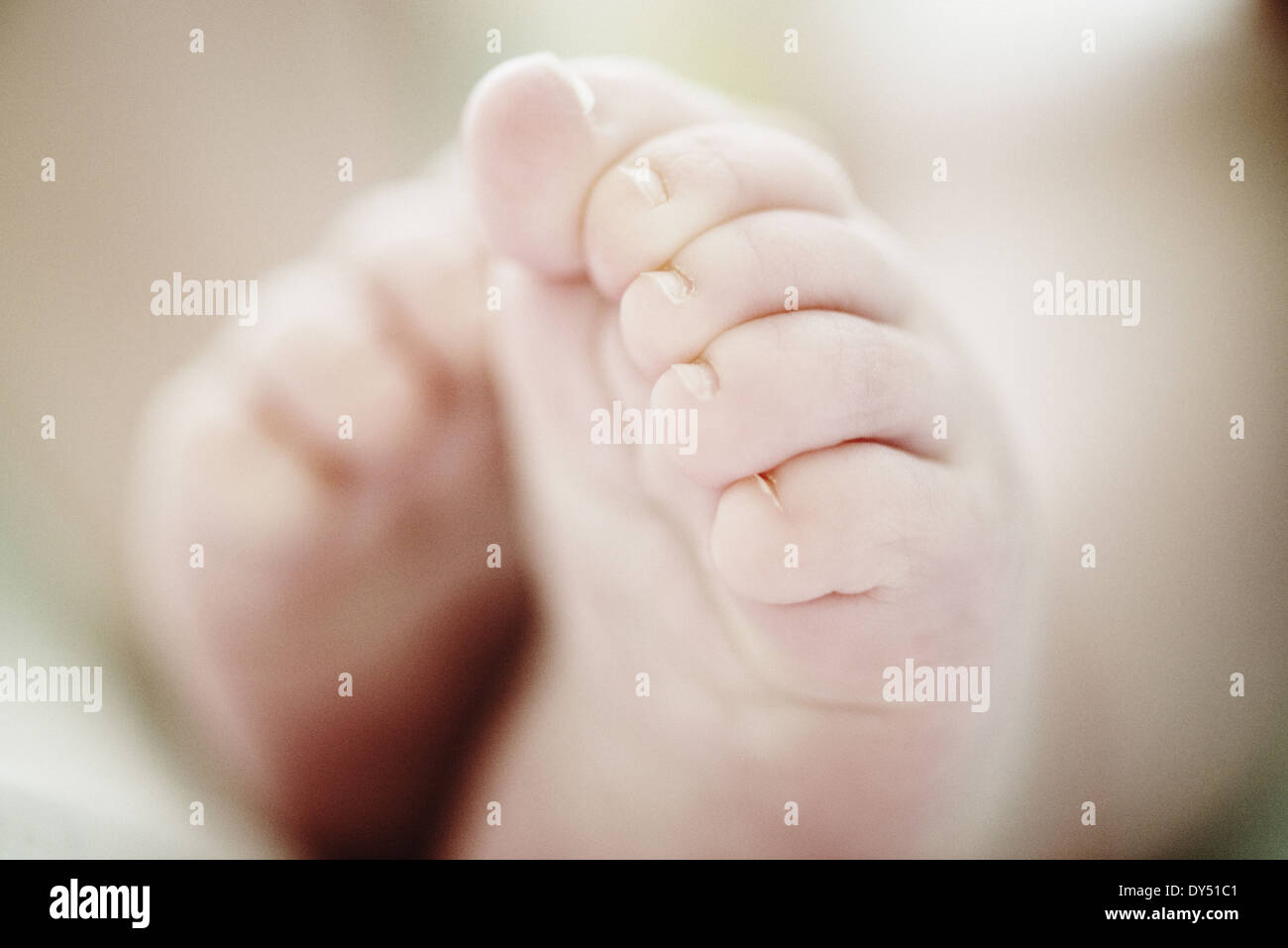 Close up de 4 mois bébé garçon pieds Photo Stock