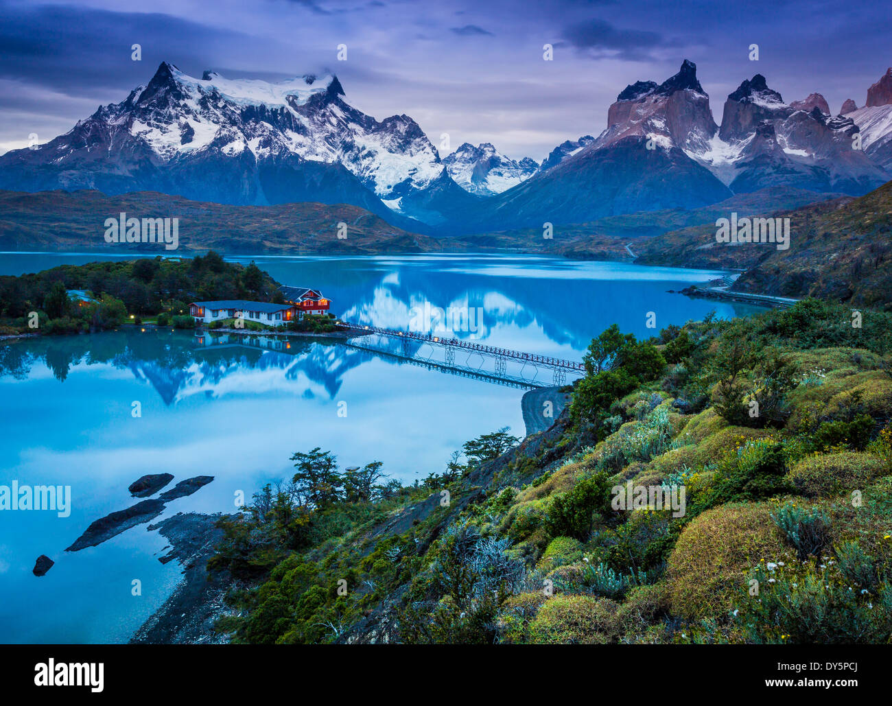 Lago Pehoe, dans le Parc National Torres del Paine, Patagonie Chilienne partie de Photo Stock
