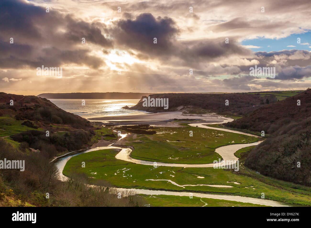 Pennard Comprimé, surplombant la baie de falaises trois, Gower, Pays de Galles, Royaume-Uni, Europe Photo Stock