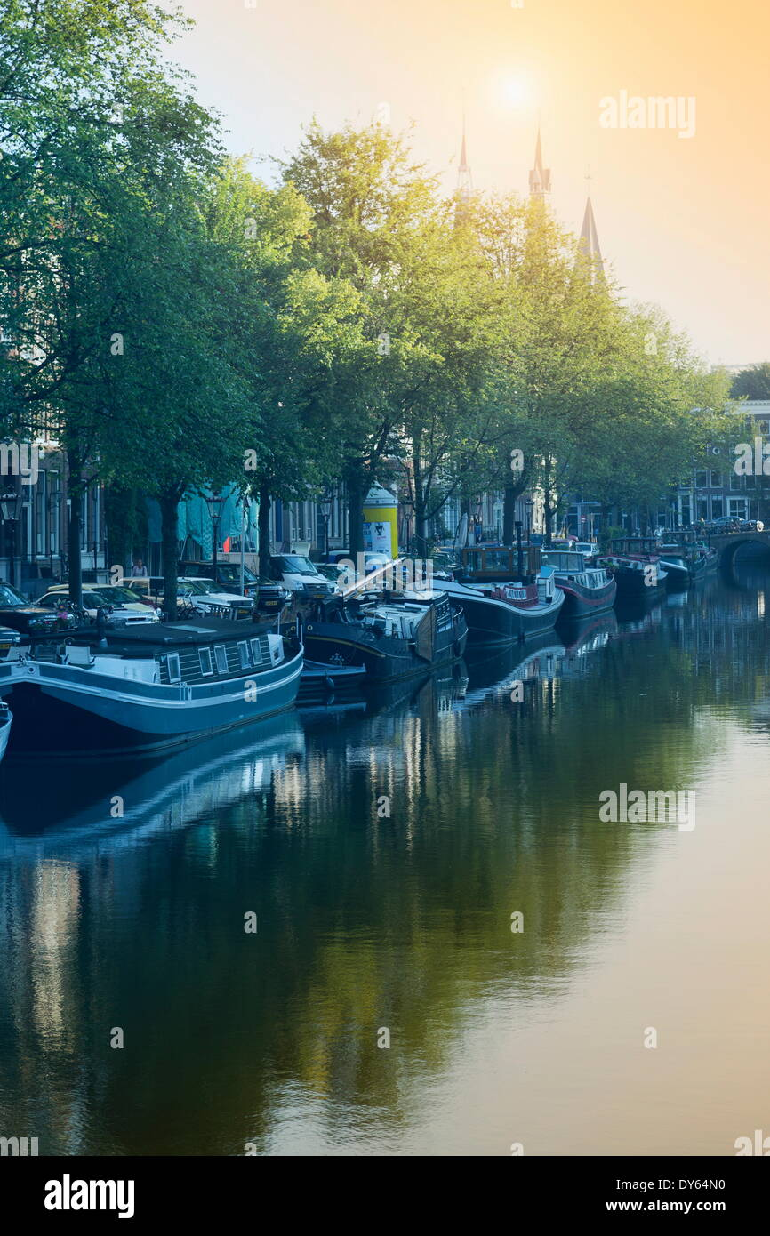 Canal, Amsterdam, Pays-Bas, Europe Photo Stock