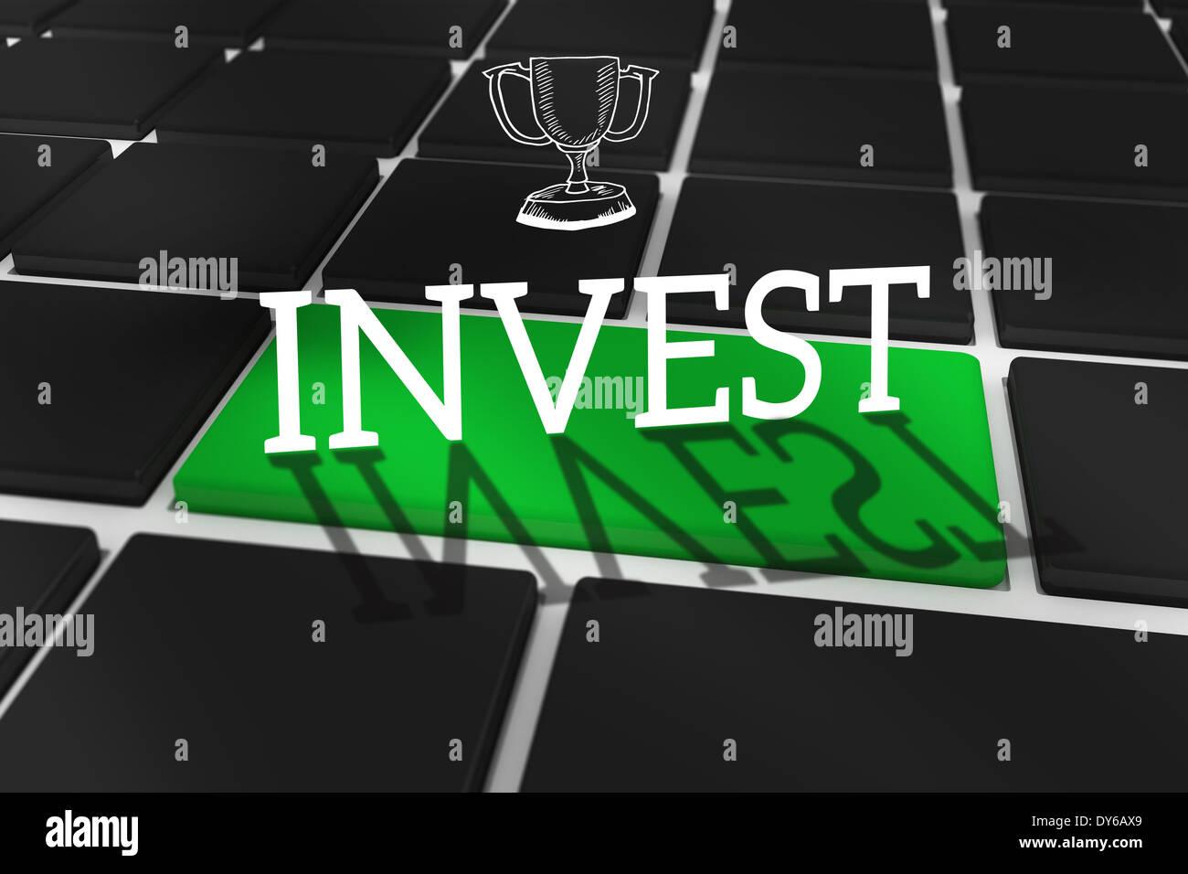Investir contre clavier noir avec clé verte Photo Stock