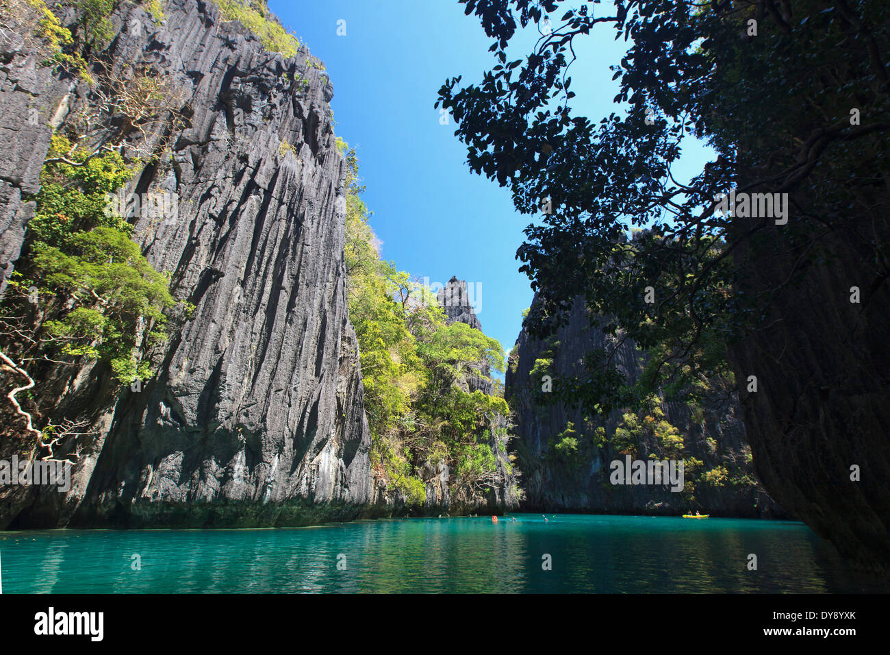 Philippines, Palawan, El Nido, docks de Miniloc Island, Big Lagoon Photo Stock