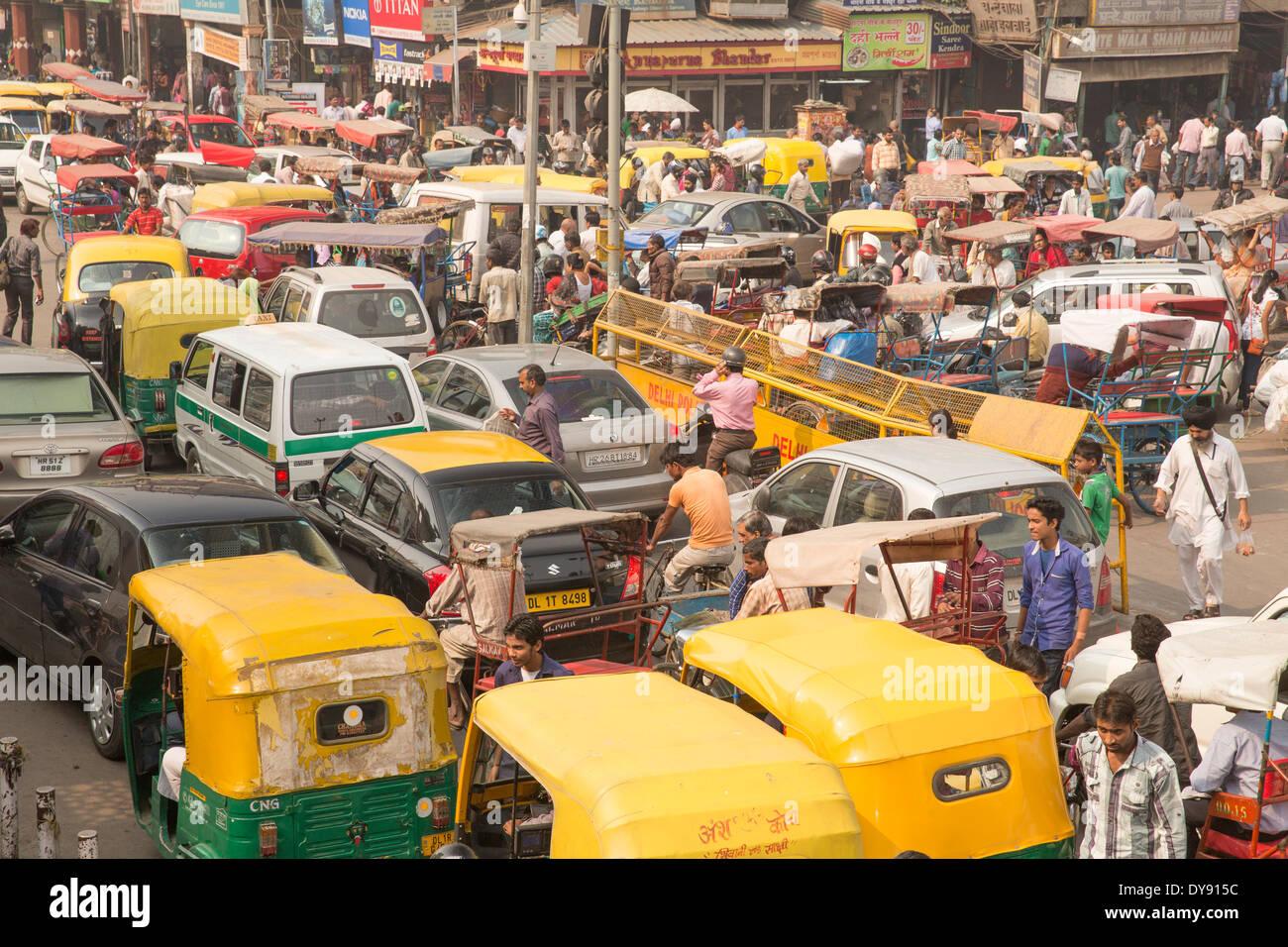 Trafic, Delhi, l'Asie, ville, ville, marché, voitures, automobiles, de nombreux embouteillages, Photo Stock