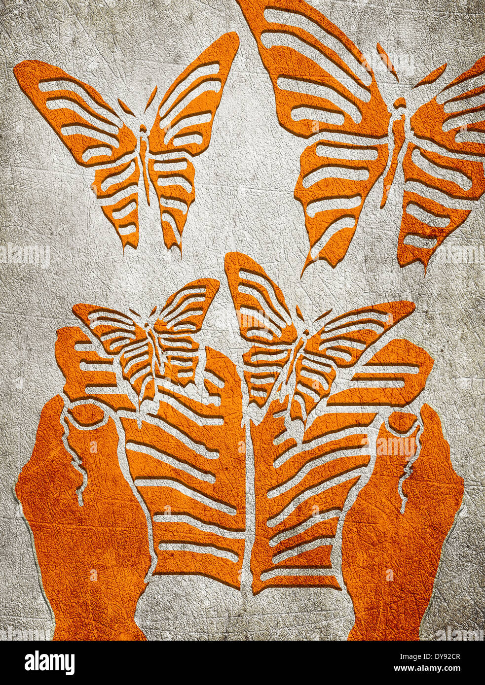 Les mains à l'ouvrage et papillon Photo Stock
