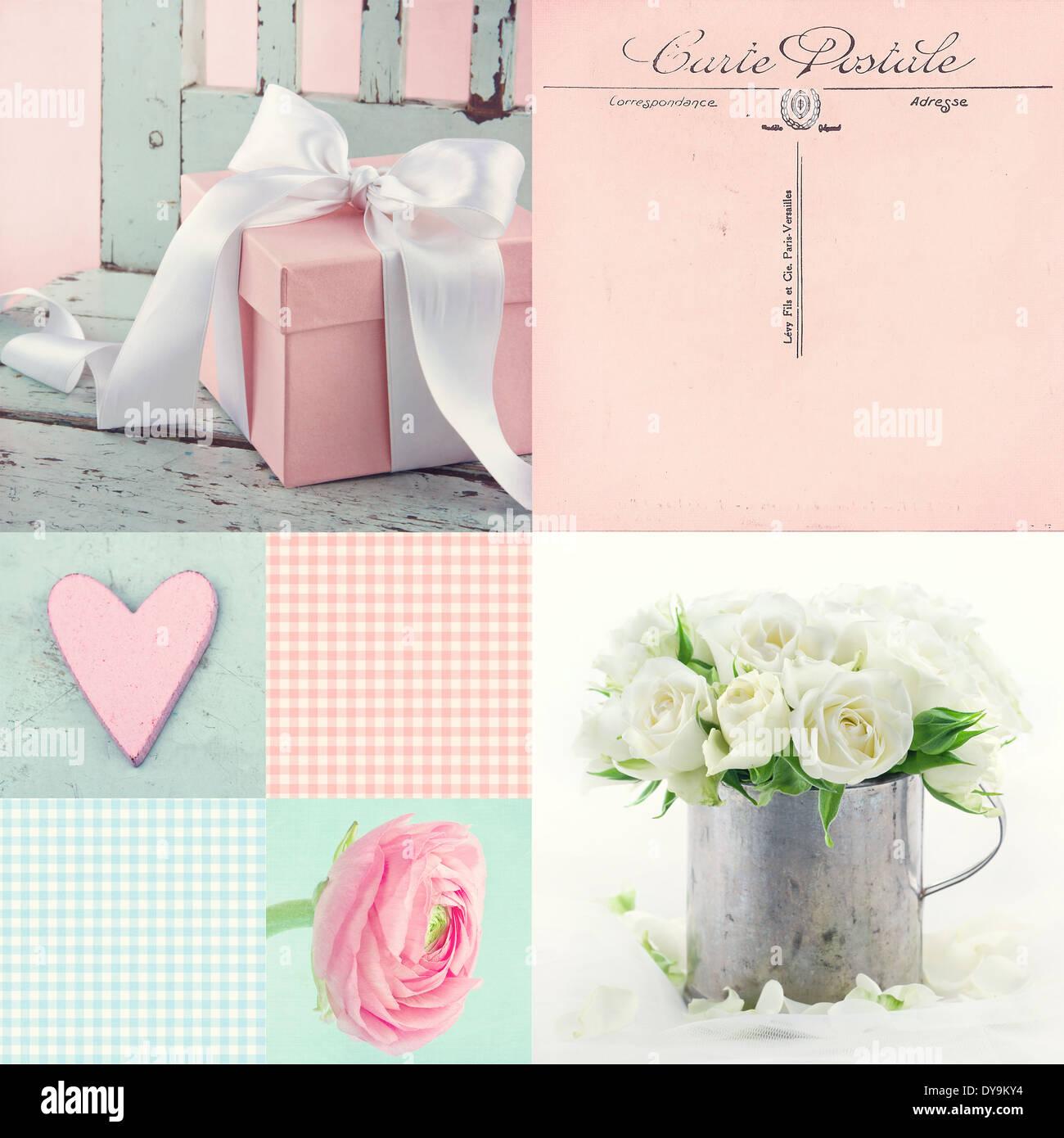 Rose et bleu clair ton collage de fleurs et d'aujourd'hui avec vintage postcard greeting Banque D'Images