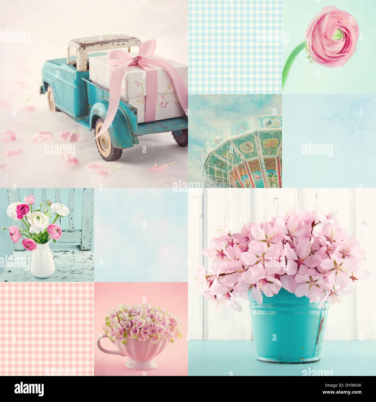 Rose et bleu clair ton collage de fleurs et d'articles de décoration vintage et fonds Banque D'Images