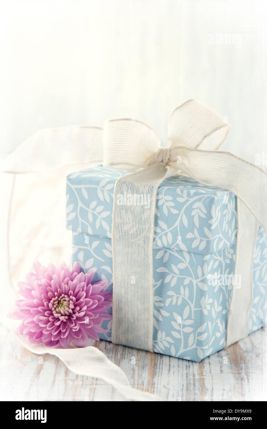 Boîte cadeau floral bleu clair attachés avec du ruban blanc et rose fleur sur fond de bois rustique et texured édition Banque D'Images