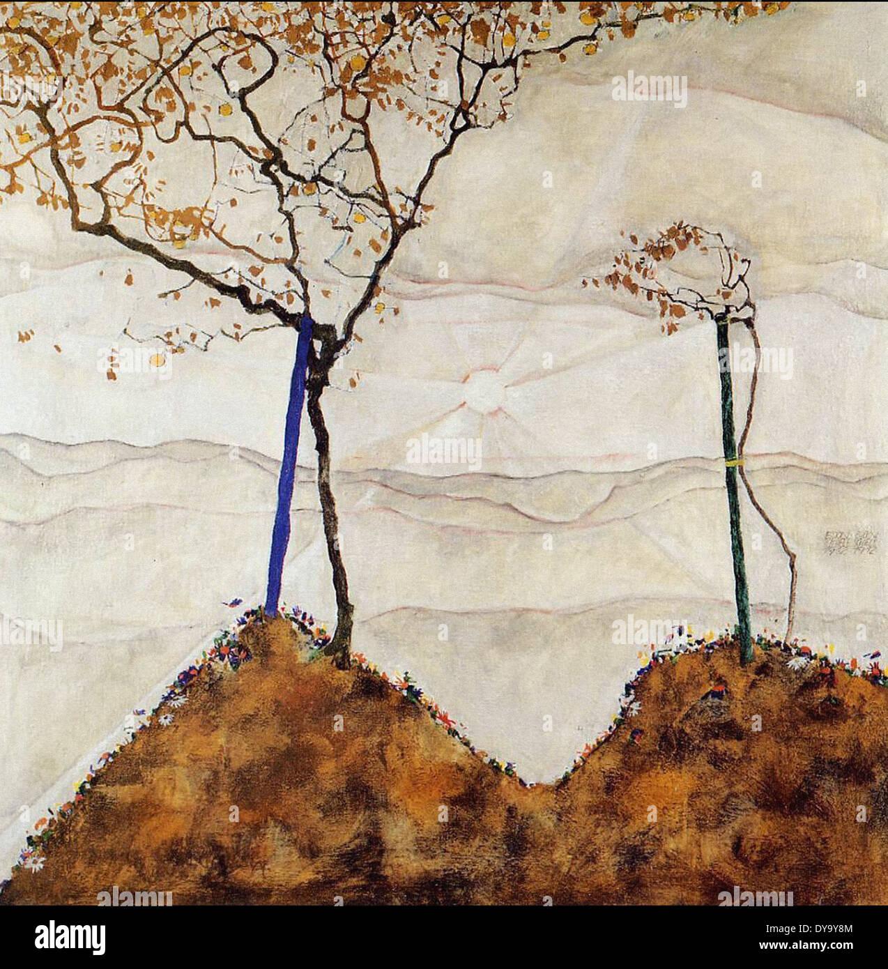 Soleil d'automne j'Egon Schiele Photo Stock