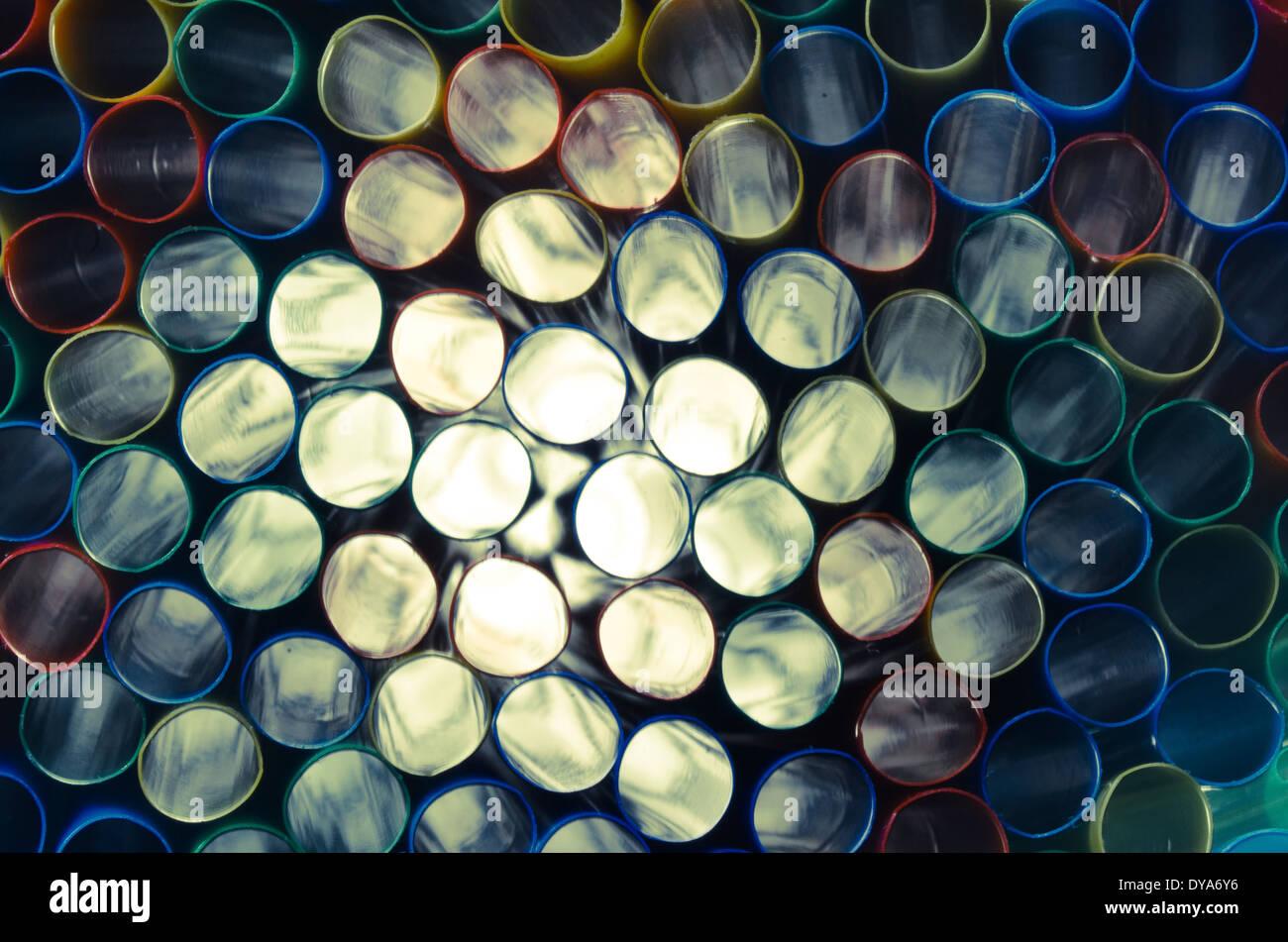 Abstrait, proche de l'image, colorée, pailles, gris, éclairé, de la paille, des anneaux, des cercles Photo Stock