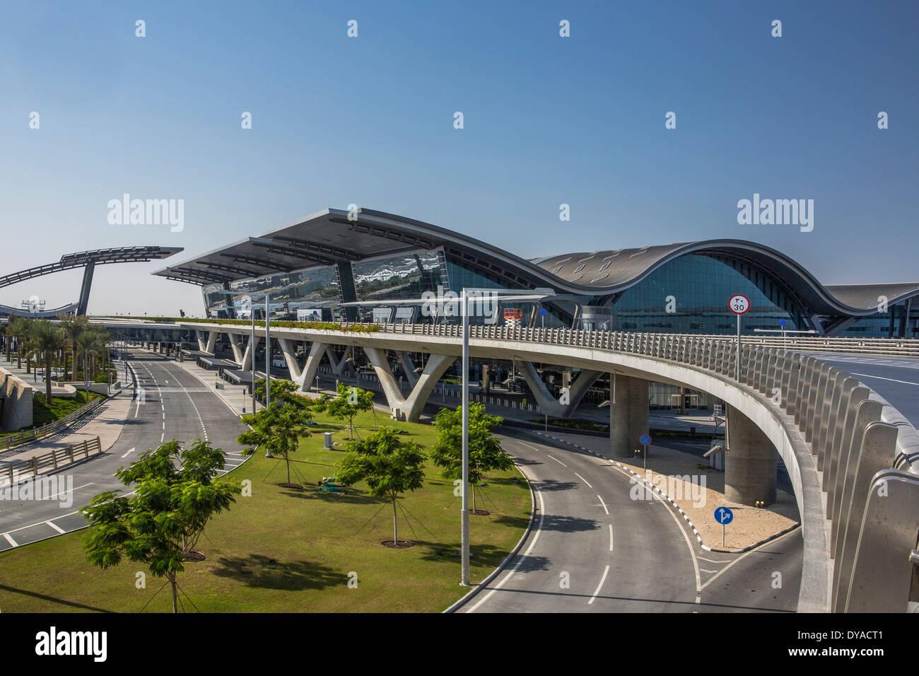 Doha, Doha, Qatar, nouveau Moyen Orient, de l'aéroport, l'architecture, ville, bâtiment, construction, international, voyage Banque D'Images